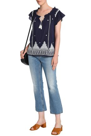 JOIE Embellished embroidered cotton-gauze top