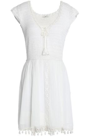 JOIE Lace-up crocheted cotton and gauze mini dress