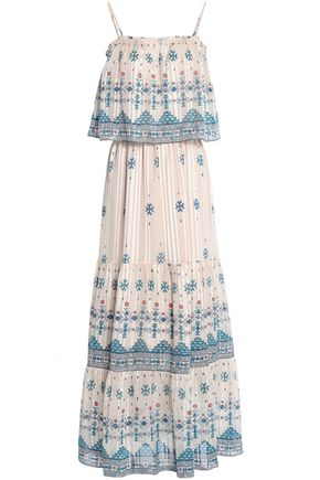 JOIE Burnout printed silk-blend chiffon maxi dress