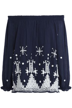JOIE Off-the-shoulder embroidered cotton-gauze top