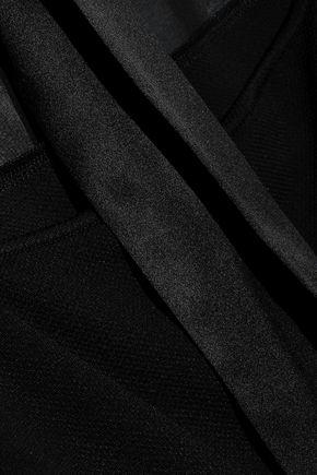 FLEUR DU MAL Satin-trimmed chiffon and jacquard bodysuit
