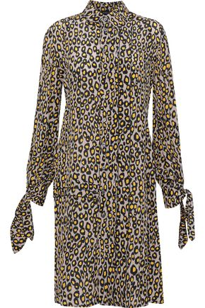 DEREK LAM Knotted leopard-print silk crepe de chine shirt dress