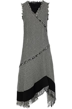 DEREK LAM Asymmetric fringed cotton and linen-blend tweed dress