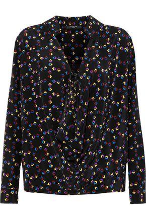 DEREK LAM Draped printed silk crepe de chine blouse