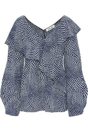 DIANE VON FURSTENBERG Wrap-effect ruffled polka-dot silk blouse