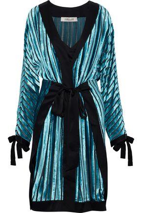 DIANE VON FURSTENBERG Satin-trimmed devoré-chiffon wrap dress