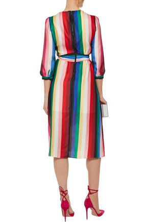 ALICE + OLIVIA Dyanna wrap-effect striped satin dress