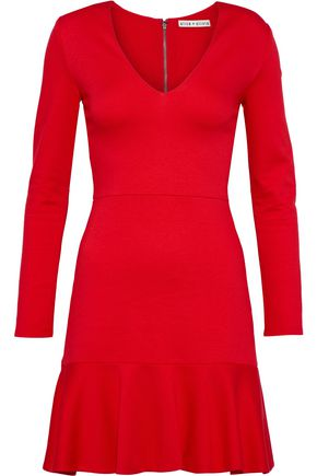 ALICE + OLIVIA Francine fluted stretch-knit mini dress
