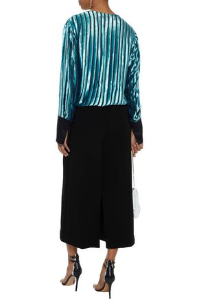 DIANE VON FURSTENBERG Satin-trimmed devoré-velvet and chiffon wrap blouse