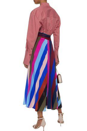 DIANE VON FURSTENBERG Striped cotton-blend poplin shirt