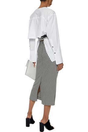 DIANE VON FURSTENBERG Belted cotton-poplin wrap top