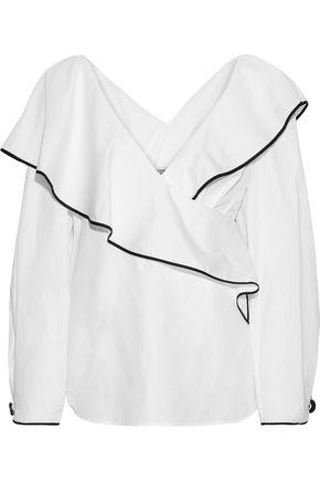 DIANE VON FURSTENBERG Wrap-effect cotton-poplin blouse