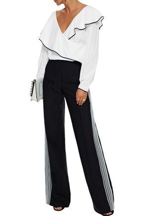 DIANE VON FURSTENBERG Wrap-effect ruffled cotton-poplin blouse