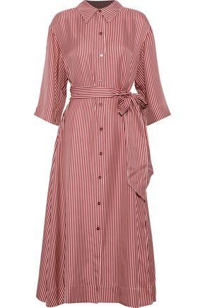 DIANE VON FURSTENBERG Belted striped silk-twill midi dress