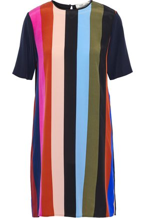 DIANE VON FURSTENBERG Striped silk crepe de chine mini dress