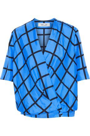 DIANE VON FURSTENBERG Checked silk-twill blouse