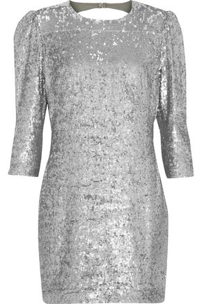 FLEUR DU MAL Open-back sequined gauze mini dress