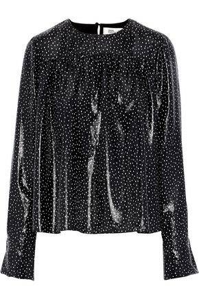 DIANE VON FURSTENBERG Coated polka-dot silk-blend blouse