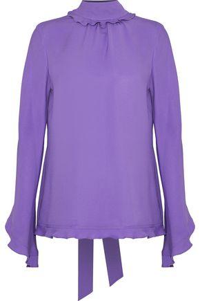 DEREK LAM Ruffle-trimmed silk crepe de chine blouse