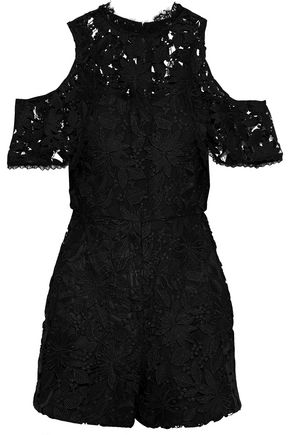 ALICE + OLIVIA June cold-shoulder guipure lace playsuit