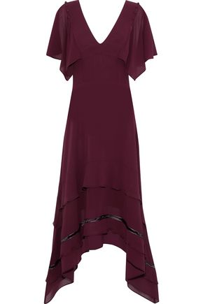 DEREK LAM Open knit-trimmed silk crepe de chine dress