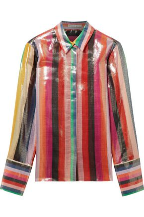 ALICE + OLIVIA Willa striped silk-blend lamé shirt