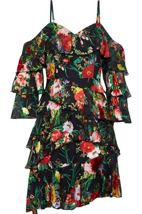 ALICE + OLIVIA JEANS Florentina cold-shoulder tiered floral-print fil coupé chiffon mini dress