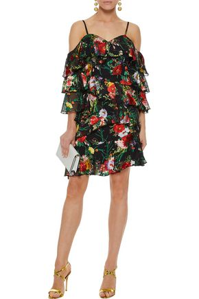 ALICE + OLIVIA Florentina cold-shoulder tiered floral-print fil coupé chiffon mini dress
