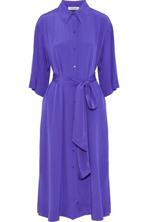 DIANE VON FURSTENBERG Belted silk-satin midi shirt dress