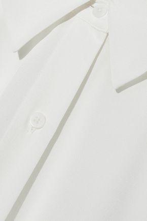 DIANE VON FURSTENBERG Chiffon-paneled silk-satin top