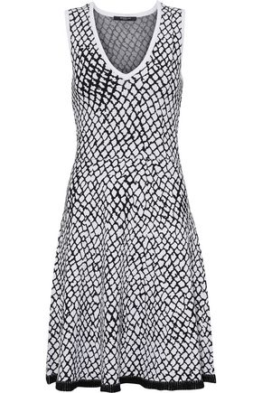 DEREK LAM Fluted intarsia-knit mini dress