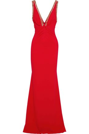ROBERTO CAVALLI Embellished ruched stretch-jersey gown
