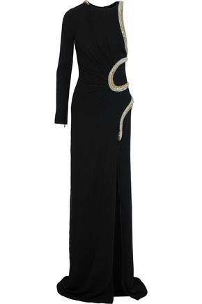 ROBERTO CAVALLI Asymmetric embellished crepe gown