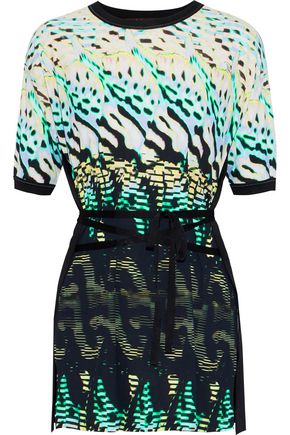 ROBERTO CAVALLI Tie-front knit-paneled printed jersey top