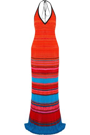 ROBERTO CAVALLI Pleated striped crochet-knit halterneck gown