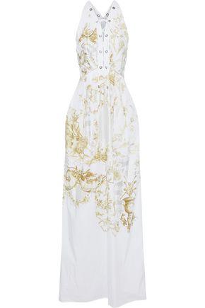 ROBERTO CAVALLI Lace-up metallic printed cotton-poplin gown