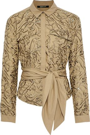 ROBERTO CAVALLI Tie-front embroidered cotton-poplin shirt