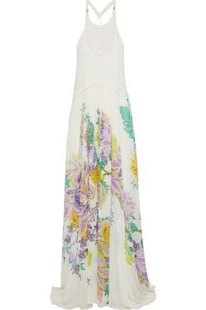 ROBERTO CAVALLI Paneled pintucked floral-print silk-chiffon gown
