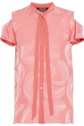 ROBERTO CAVALLI Cold-shoulder pussy-bow silk-jacquard blouse