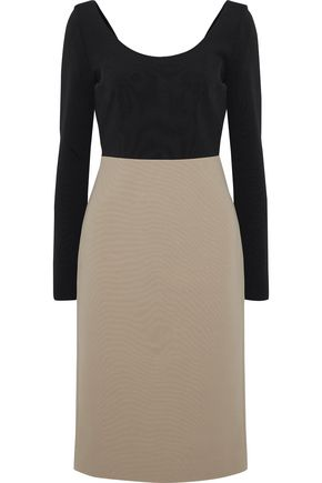 DIANE VON FURSTENBERG Two-tone stretch-knit dress