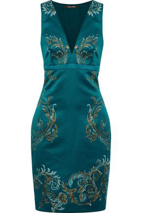 ROBERTO CAVALLI Metallic printed duchesse-satin dress