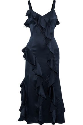 CINQ À SEPT Feather-trimmed ruffled silk-satin midi dress