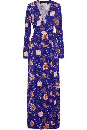 DIANE VON FURSTENBERG Gingham silk maxi wrap dress