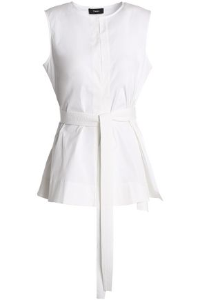 THEORY Belted stretch-cotton poplin top