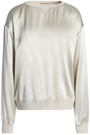 THEORY Ribbed knit-trimmed silk-satin top