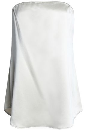 THEORY Zalballa strapless silk-satin top