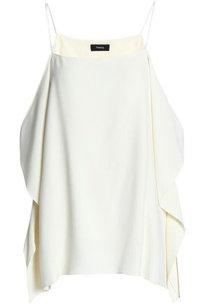 THEORY Cold-shoulder draped crepe top