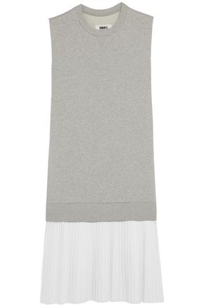 MM6 by MAISON MARGIELA Ribbed mélange and pleated twill-paneled cotton dress