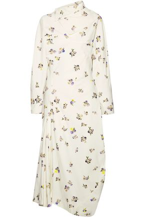 ACNE STUDIOS Dragica asymmetric floral-print cotton-corduroy midi dress