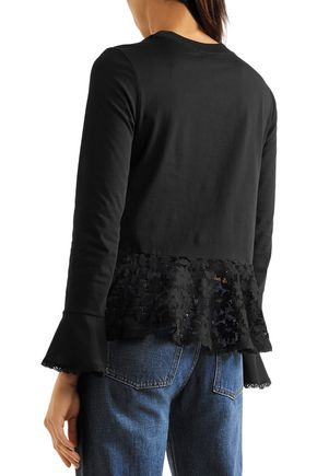 SEE BY CHLOÉ Lace-paneled cotton-blend jersey peplum top